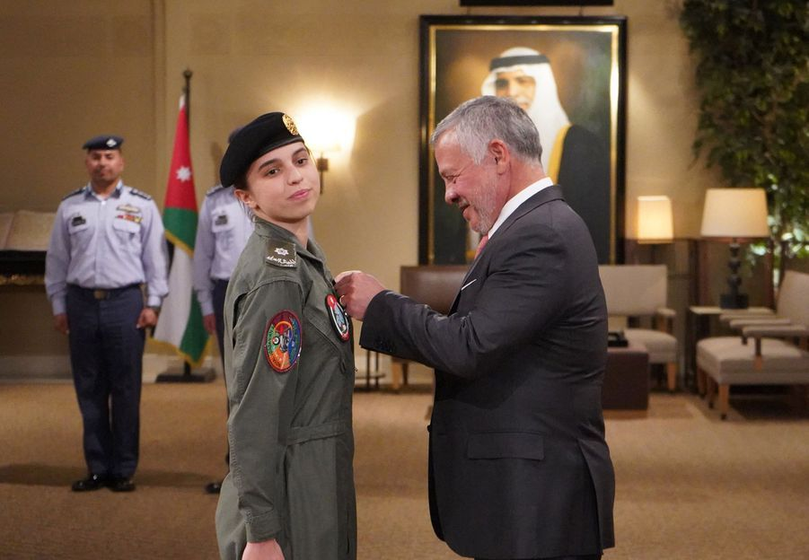 La princesse Salma de Jordanie avec son père le roi Abdallah II, le 8 janvier 2020