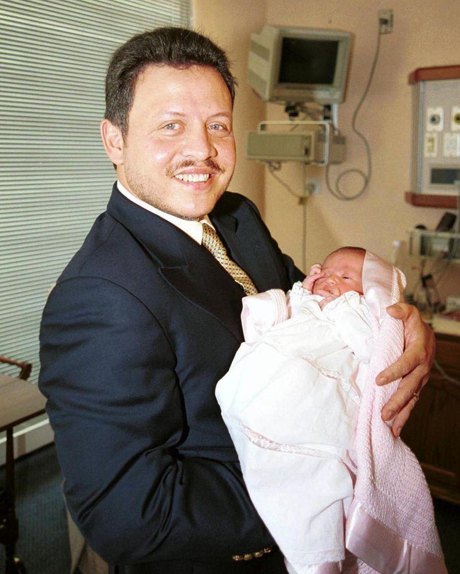 La princesse Salma de Jordanie avec son père le roi Abdallah II, le 26 septembre 2000