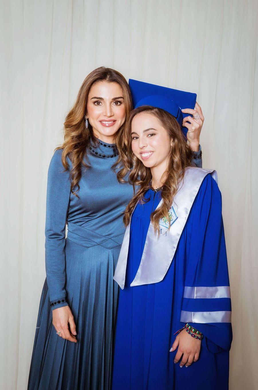 La princesse Salma de Jordanie avec sa mère la reine Rania, le 22 mai 2018