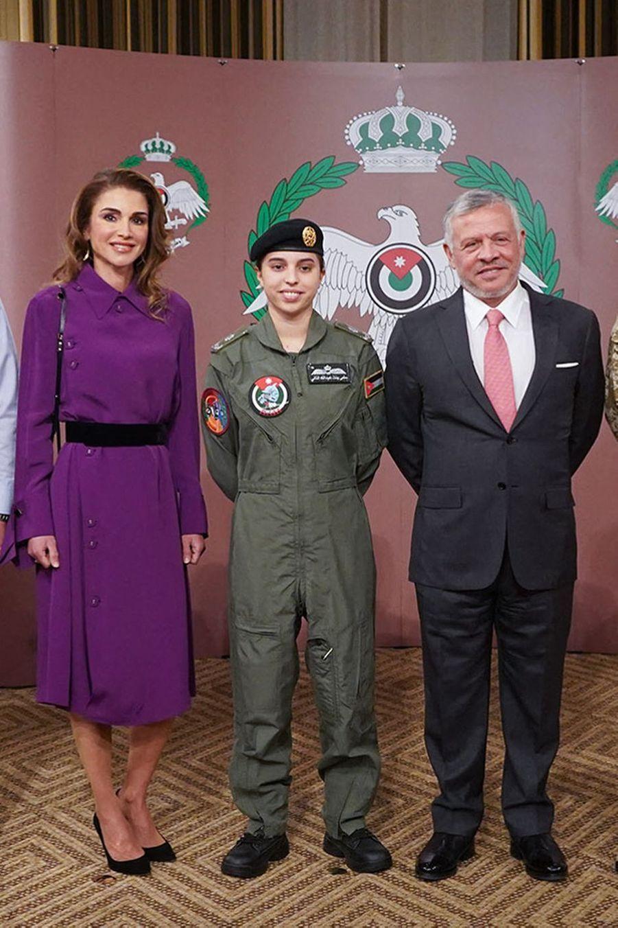 La princesse Salma de Jordanie avec ses parents, le roi Abdallah II et la reine Rania, à Amman le 8 janvier 2019