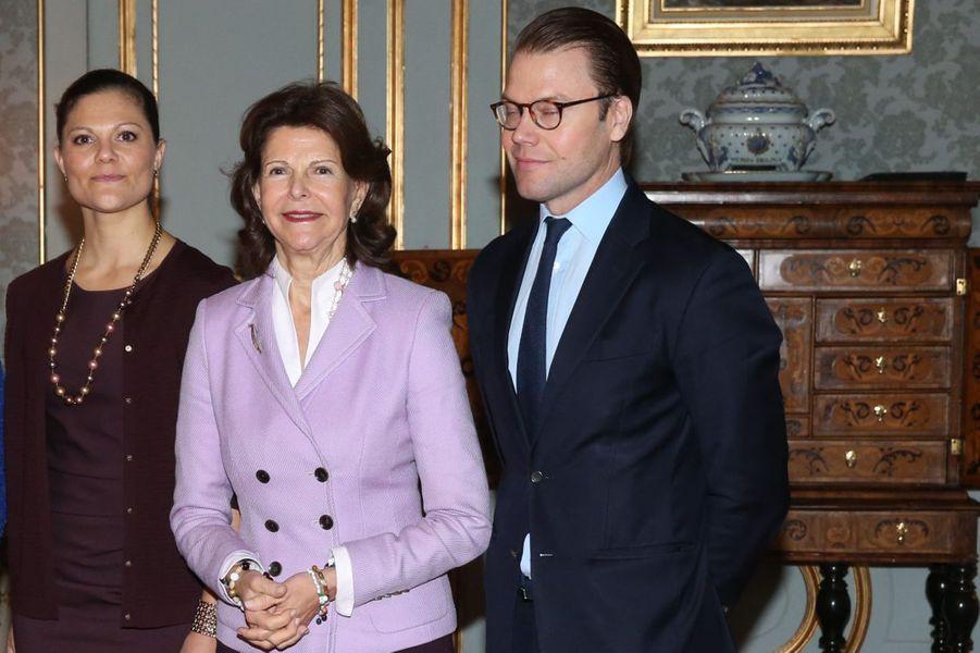 La princesse Victoria de Suède, la reine Silvia et le prince Daniel à Stockholm, le 18 novembre 2014