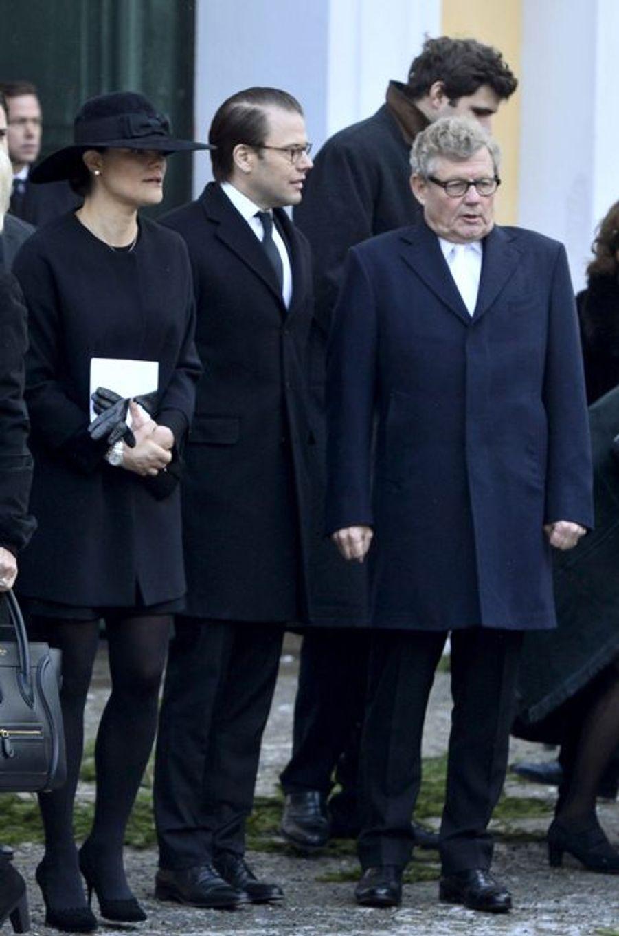 La princesse Victoria et le prince Daniel à l'office pour Peter Wallenberg à Stockholm, le 4 février 2015