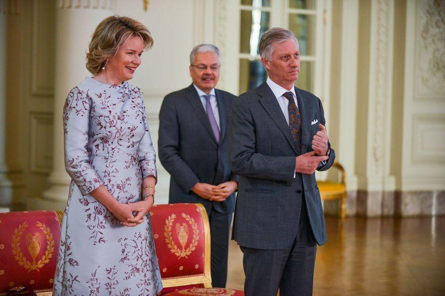 La reine Mathilde, dans une robe Natan, et le roi des Belges Philippe à Bruxelles, le 15 janvier 2019