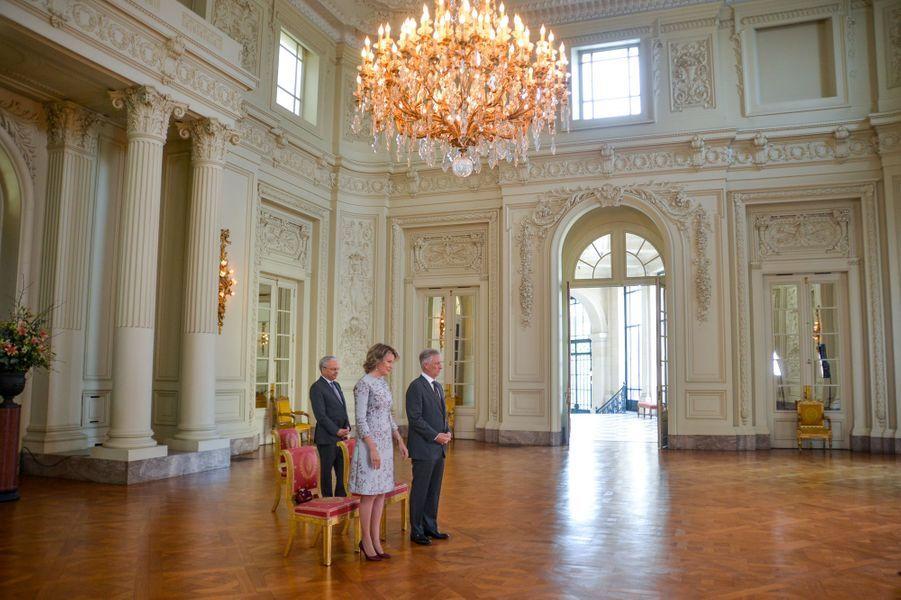 La reine Mathilde et le roi des Belges Philippe au palais de Laeken à Bruxelles, le 15 janvier 2019