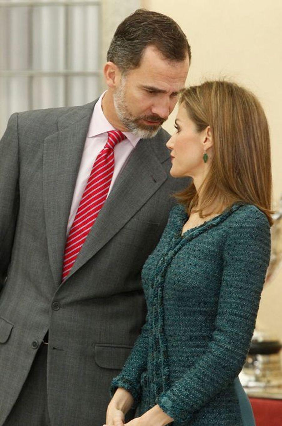 Le roi Felipe VI d'Espagne et la reine Letizia d'Espagne à Madrid, le 4 décembre 2014