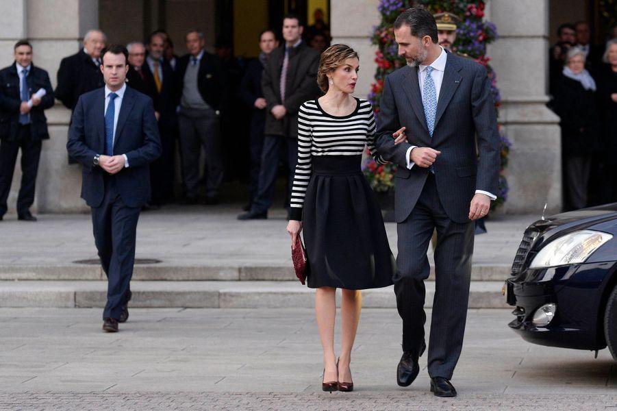 La reine Letizia et le roi Felipe VI à La Corogne, le 19 février 2015