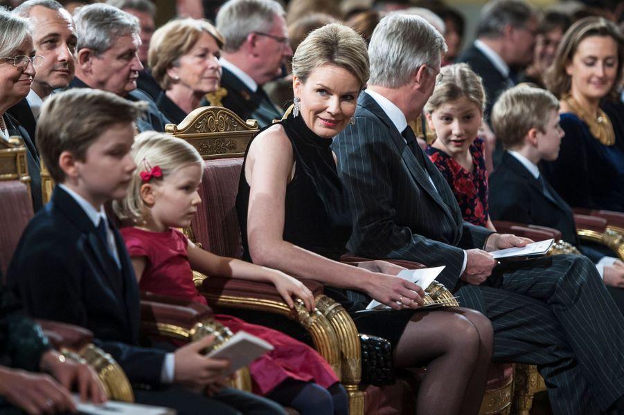 La famille royale de Belgique au concert de Noël au Palais royal de Bruxelles, le 17 décembre 2014