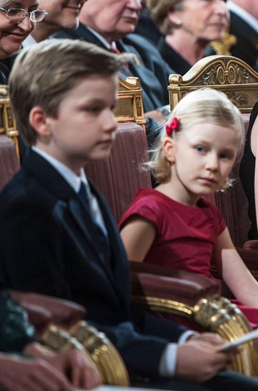 Le prince Gabriel et la princesse Eléonor de Belgique au concert de Noël au Palais royal de Bruxelles, le 17 décembre 2014