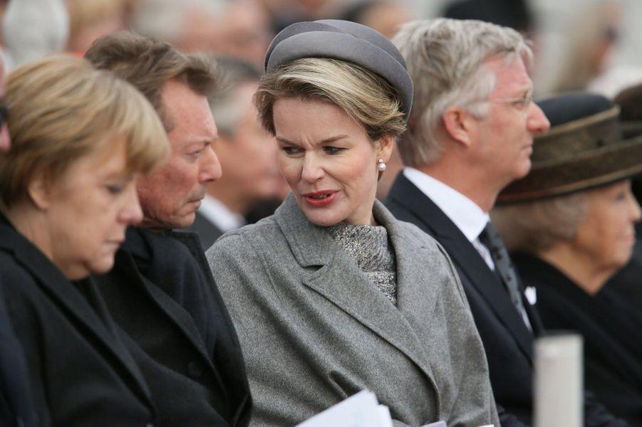 Angela Merkel et la reine Mathilde de Belgique à Nieuwpoort, le 28 octobre 2014