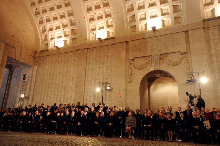 Commémoration de la première bataille d'Ypres au mémorial de la porte de Menin à Ypres, le 28 octobre 2014