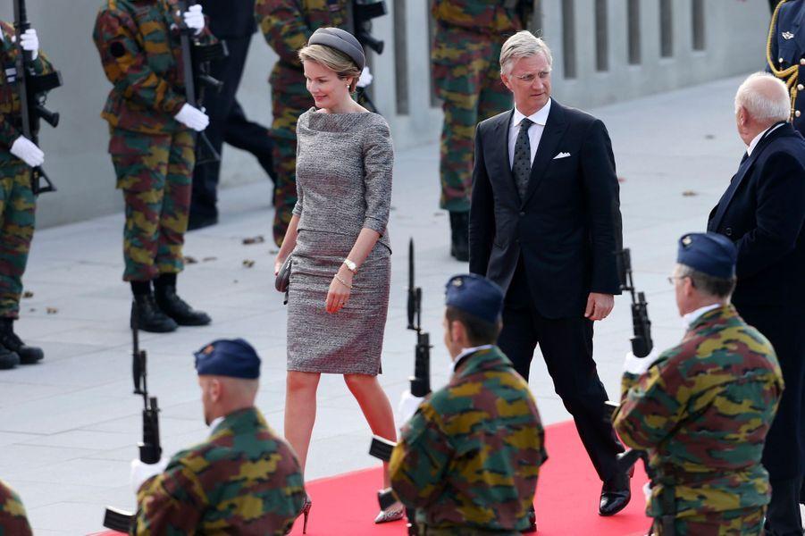 La reine Mathilde et le roi Philippe de Belgique à Nieuwpoort, le 28 octobre 2014