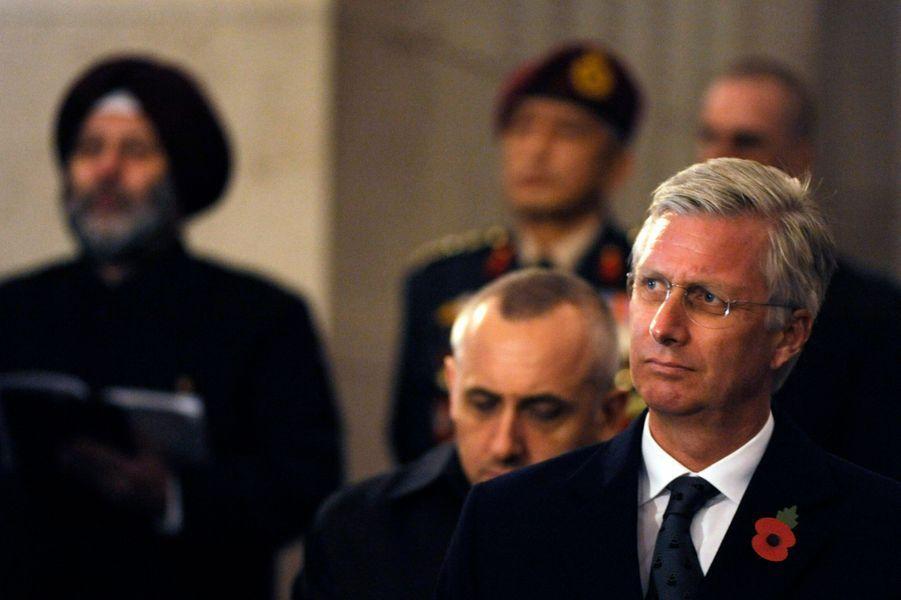 Le roi Philippe de Belgique au mémorial de la porte de Menin à Ypres, le 28 octobre 2014