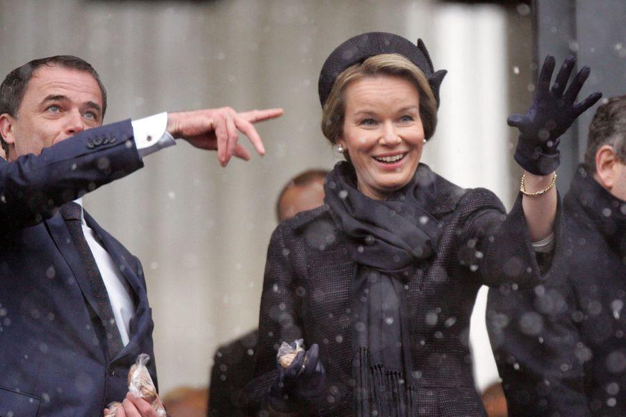 La reine Mathilde de Belgique à Bastogne, le 13 décembre 2014
