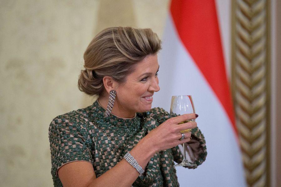 La reine Maxima des Pays-Bas lors du banquet offert par Park Geun-hye à Séoul, le 3 novembre 2014
