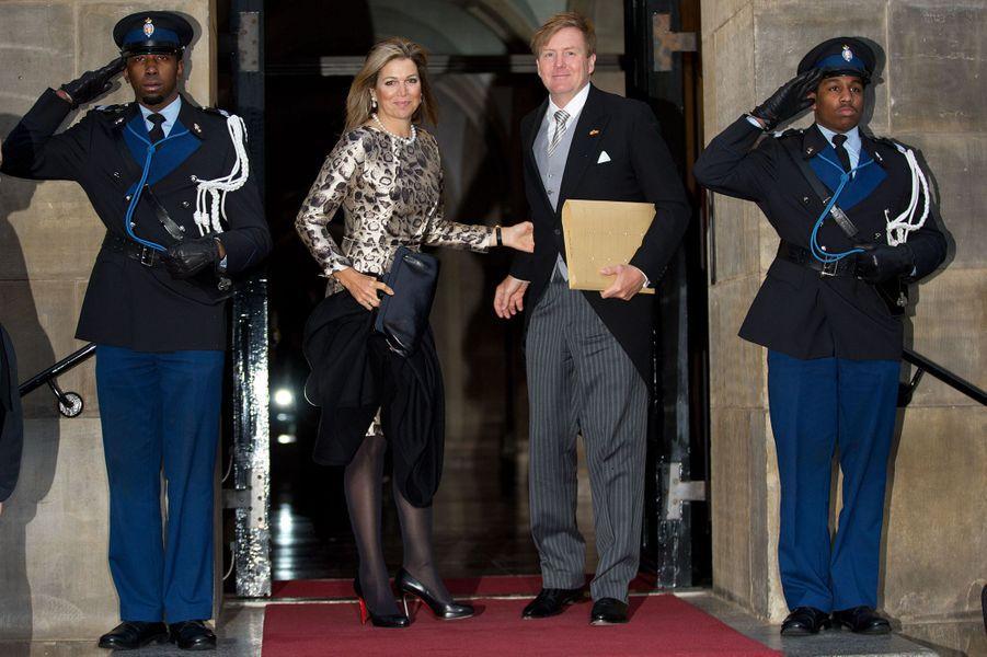 La reine Maxima et le roi Willem-Alexander des Pays-Bas à Amsterdam, le 14 janvier 2015