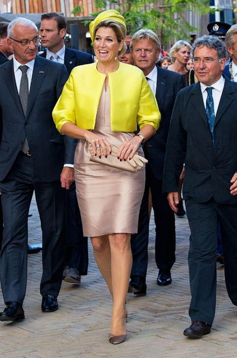 La reine Maxima des Pays-Bas inaugure Micropia à Amsterdam, le 30 septembre 2014