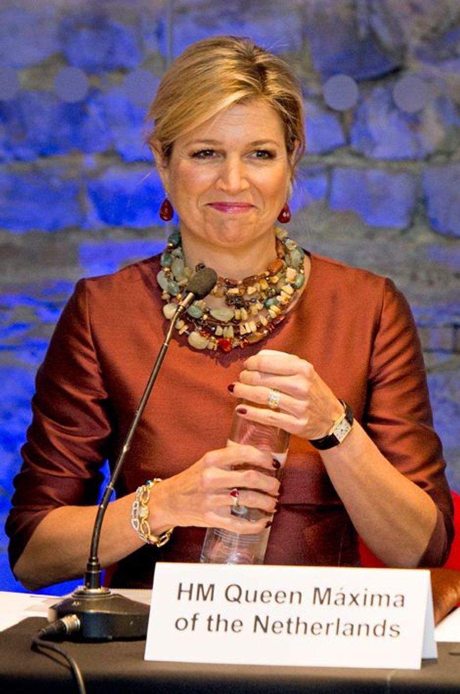 La reine Maxima des Pays-Bas à Londres, le 19 janvier 2015