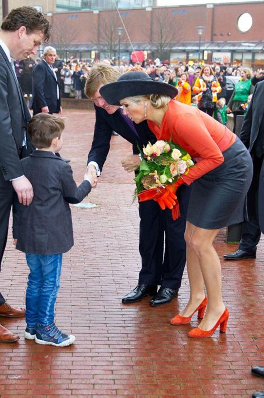 Maxima et Willem-Alexander en visite dans les provinces de Groningue et de Drenthe, le 17 février 2015