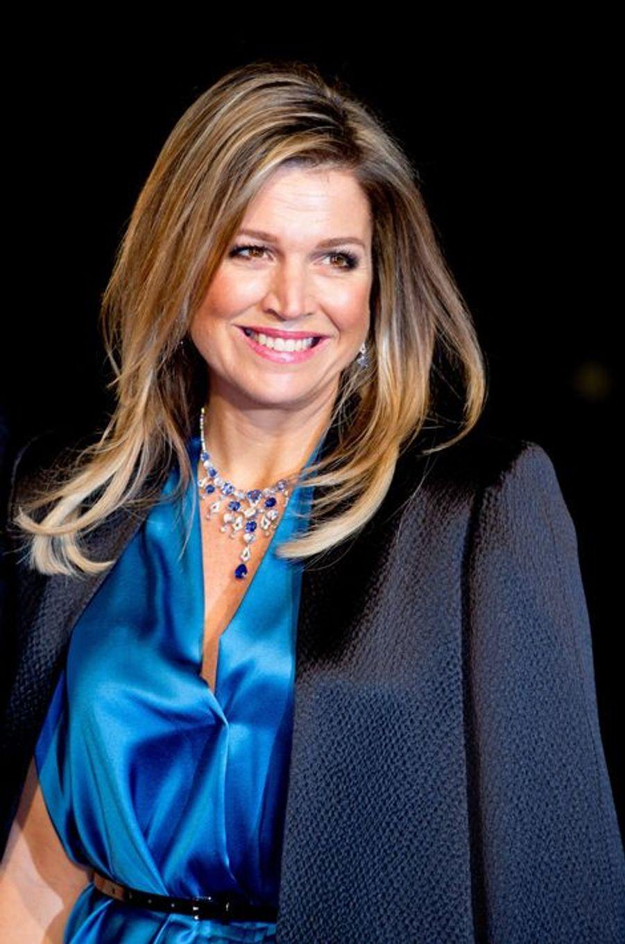 La reine Maxima des Pays-Bas au théâtre Beatrix d'Utrecht, le 8 décembre 2014