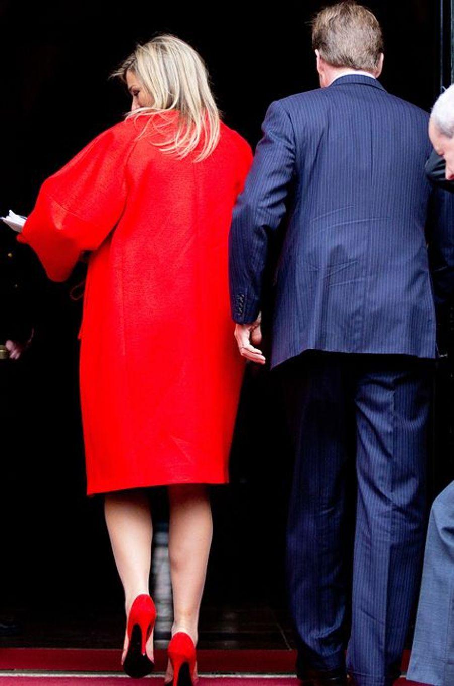La reine Maxima et le roi Willem-Alexander, à Amsterdam, le 13 janvier 2015
