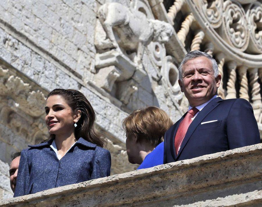 La reine Rania et le roi Abdallah II de Jordanie à Assise, le 29 mars 2019