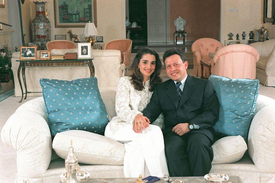 Rania avec le roi Abdallah en 1998