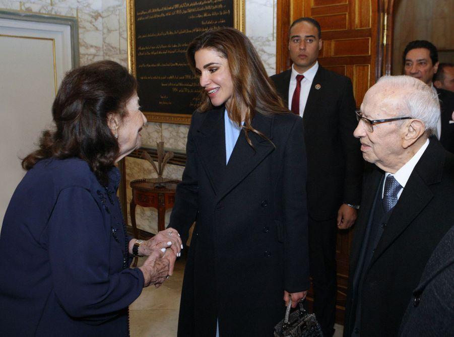 La reine Rania de Jordanie avec le couple présidentiel tunisien à Tunis, le 3 février 2019