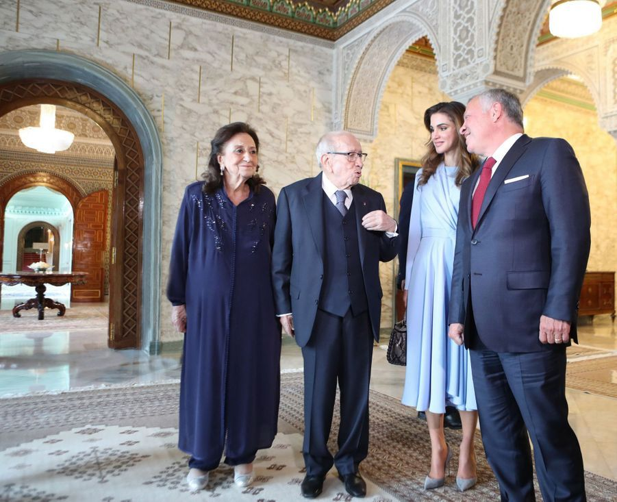 La reine Rania et le roi Abdallah II de Jordanie avec le couple présidentiel tunisien à Tunis, le 3 février 2019