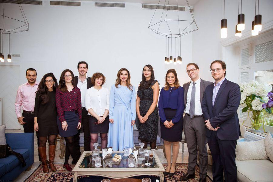 La reine Rania de Jordanie à Sidi Bou Said, le 3 février 2019