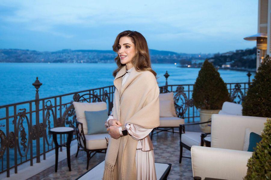 La reine Rania de Jordanie à Istambul, le 2 février 2019