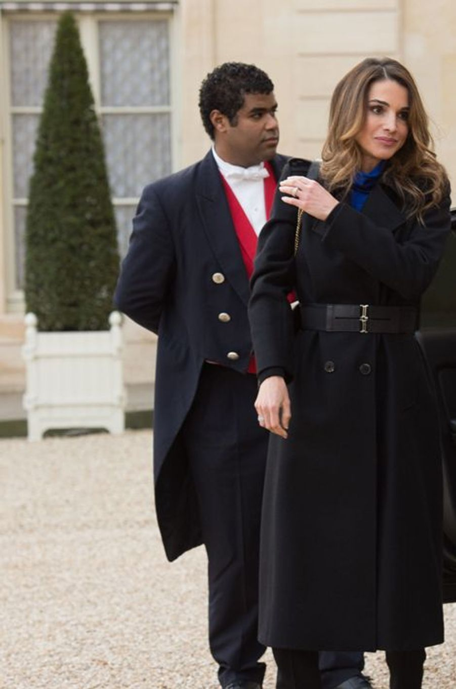 La reine Rania arrive à l'Elysée à Paris, le 11 janvier 2015
