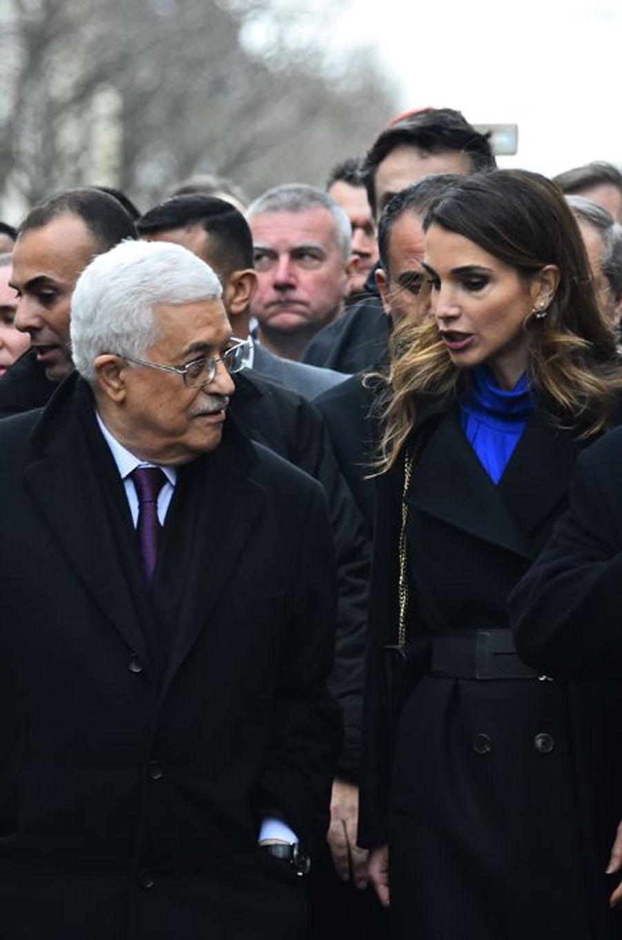La reine Rania avec Mahmoud Abbas à Paris, le 11 janvier 2015