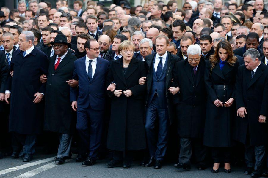 La reine Rania de Jordanie à la marche républicaine à Paris, le 11 janvier 2015