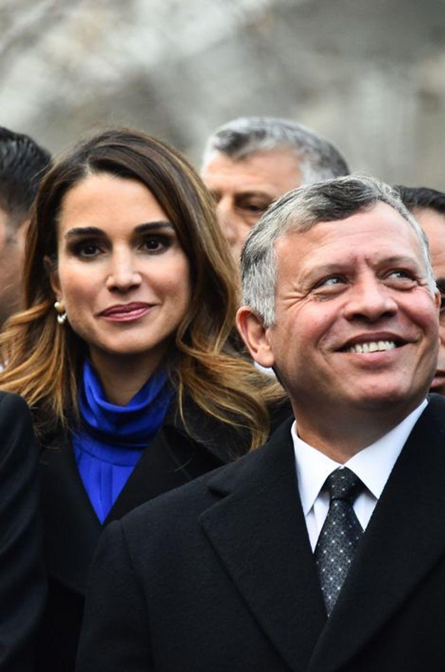 La reine Rania et le roi Abdallah II de Jordanie à Paris, le 11 janvier 2015