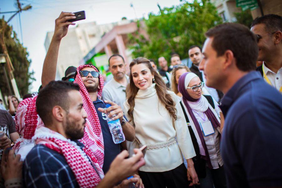 La reine Rania de Jordanie à Amman, le 16 août 2015