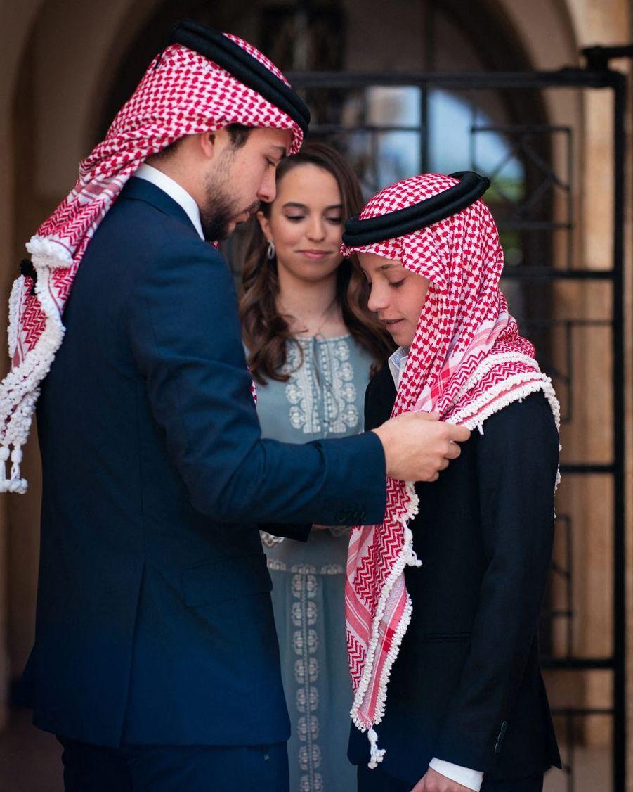 Les princes Hussein et Hashem et la princesse Salma de Jordanie à Amman, le 25 mai 2019