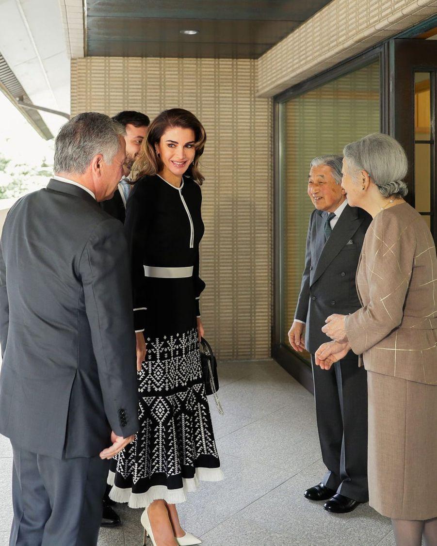 La reine Rania et le roi Abdallah II de Jordanie avec l'empereur Akihito et l'impératrice Michiko du Japon à Tokyo, le 26 novembre 2018