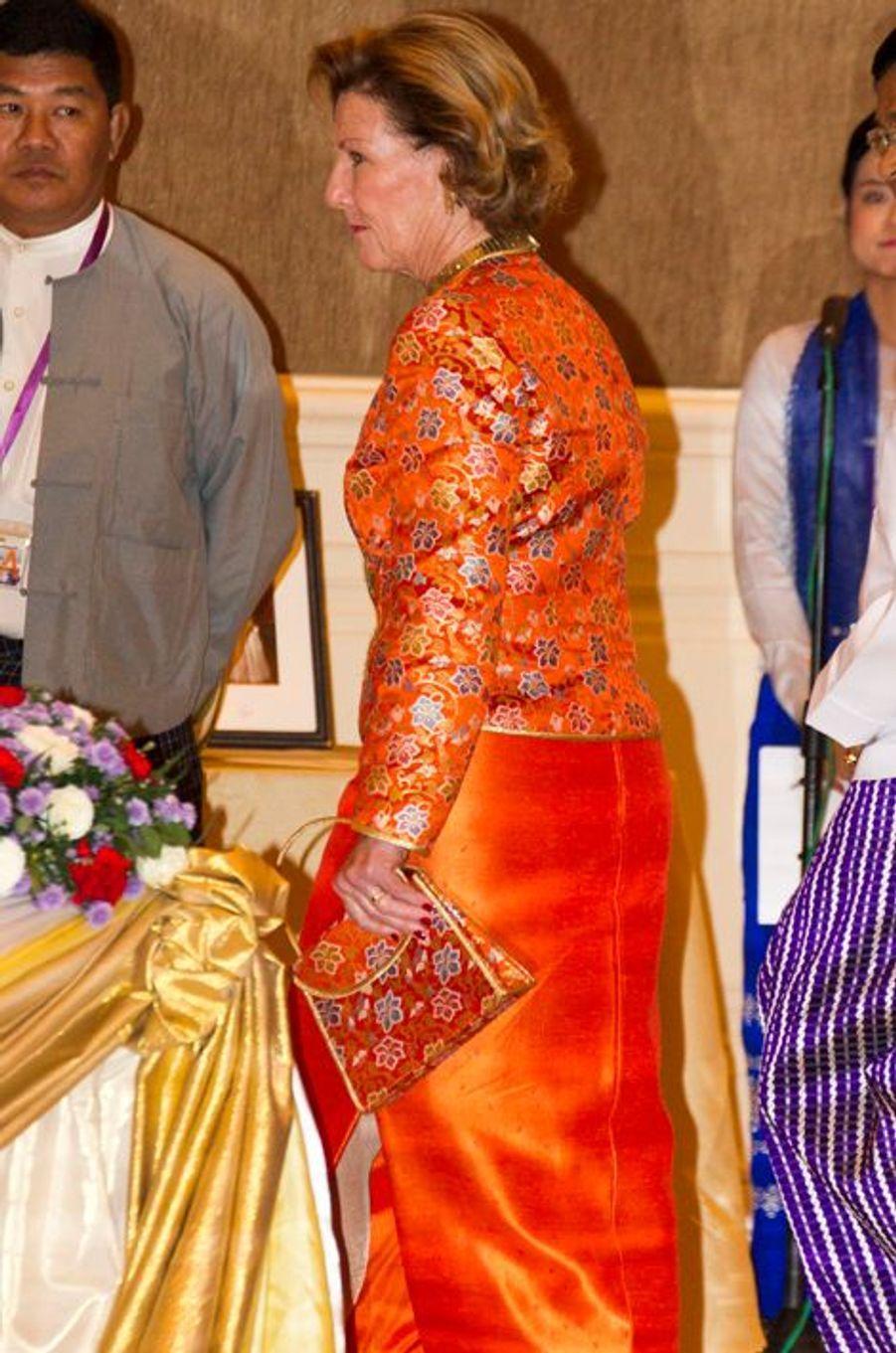 La reine Sonja lors du banquet au palais présidentiel à Nay Pyi Taw, le 1er décembre 2014