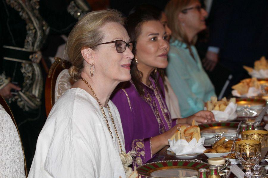 La princesse Lalla Hasna avec Meryl Streep à Marrakech, le 28 juin 2016