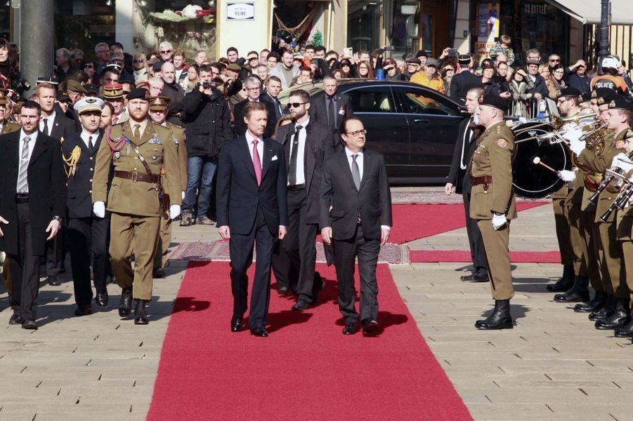 Le grand-duc Henri et Maria Teresa ont reçu François Hollande