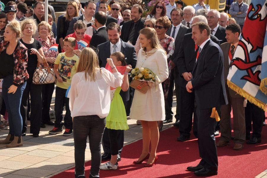Stéphanie et Guillaume en visite à Steinfort, le 25 septembre 2014.