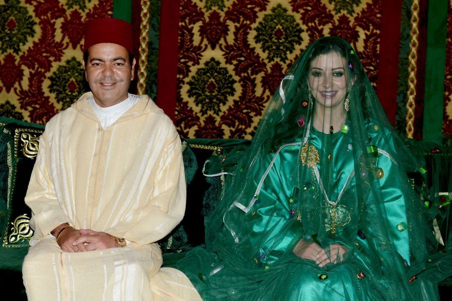 Le prince Moulay Rachid et Lalla Oum Keltoum, lors de la cérémonie du henné.