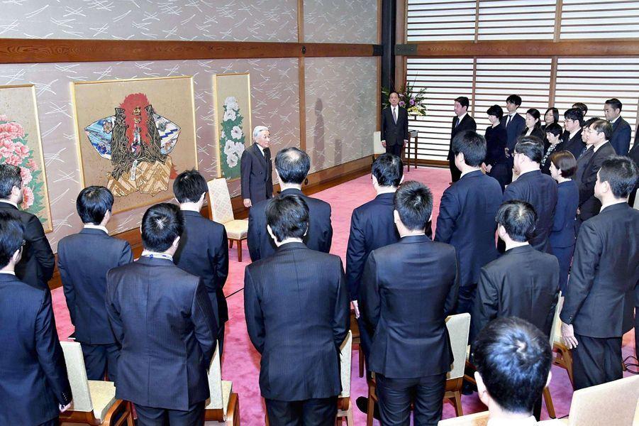 L'empereur Akihito du Japon lors de sa conférence de presse de fin d'année à Tokyo, le 20 décembre 2017