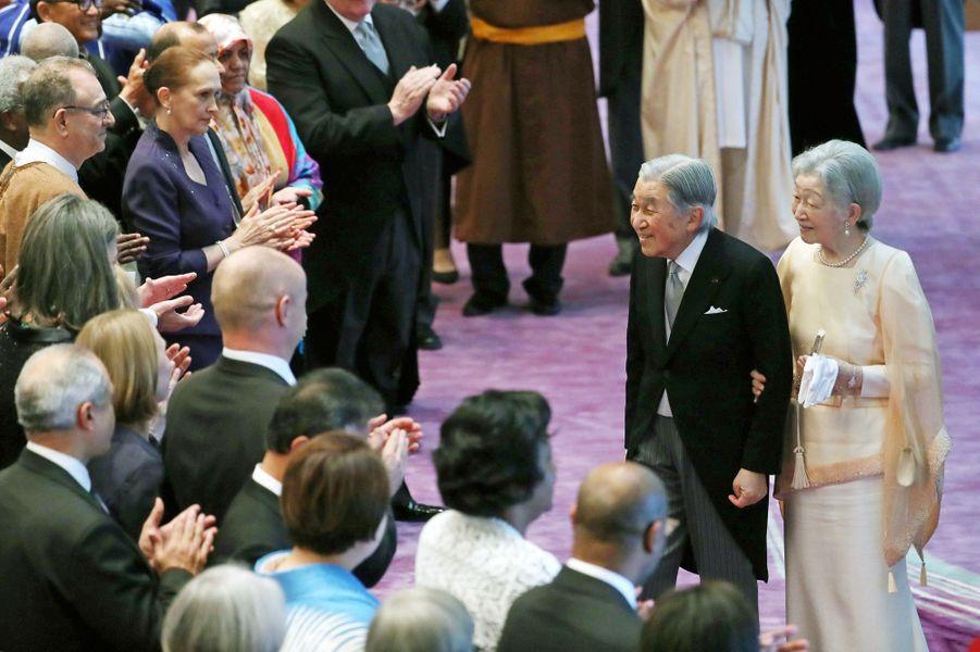L'empereur Akihito et l'impératrice Michiko du Japon à Tokyo, le 23 décembre 2017