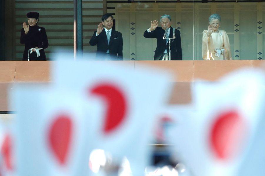 L'empereur Akihito et l'impératrice Michiko du Japon avec le prince Naruhito et la princesse Masako à Tokyo, le 23 décembre 2017