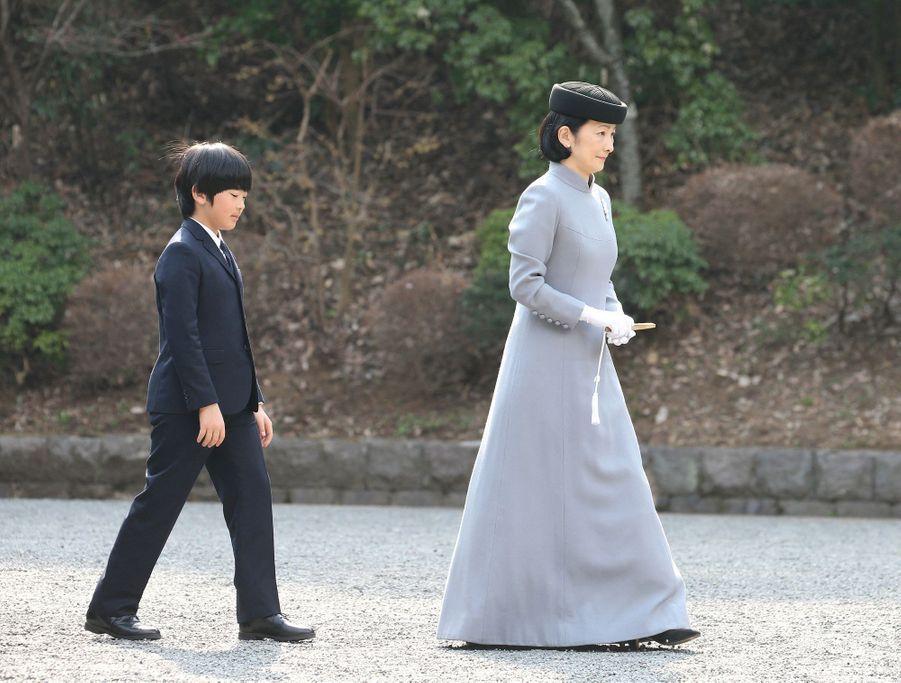 Le prince Hisahito du Japon et sa mère la princesse Kiko à Tokyo, le 16 mars 2019