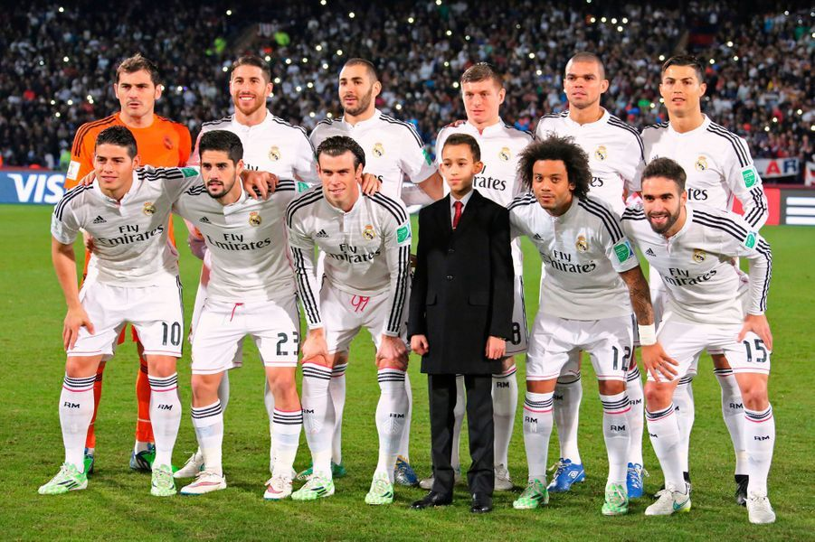 Le prince Moulay El Hassan du Maroc avec le Real Madrid à Marrakech, le 20 décembre 2014
