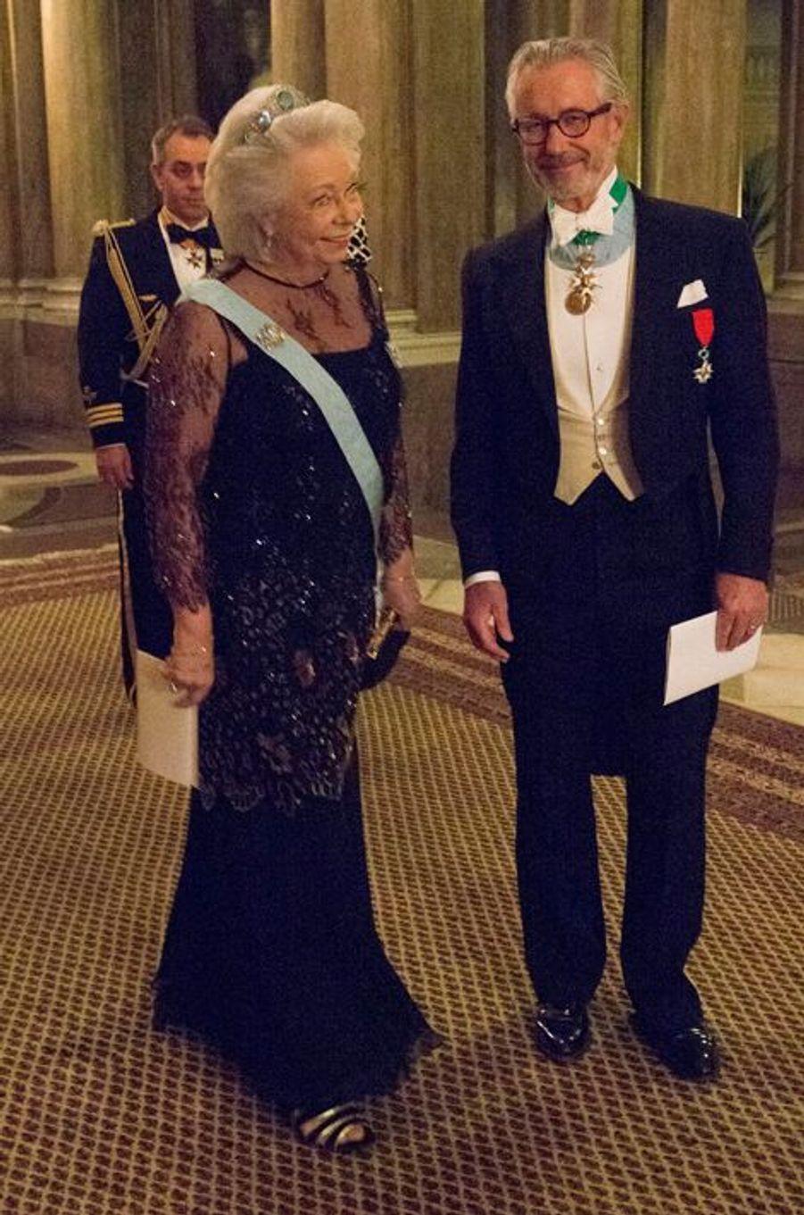 La princesse Christina et Tord Magnuson son mari au premier dîner de l'année au Palais royal à Stockholm, le 11 février 2015