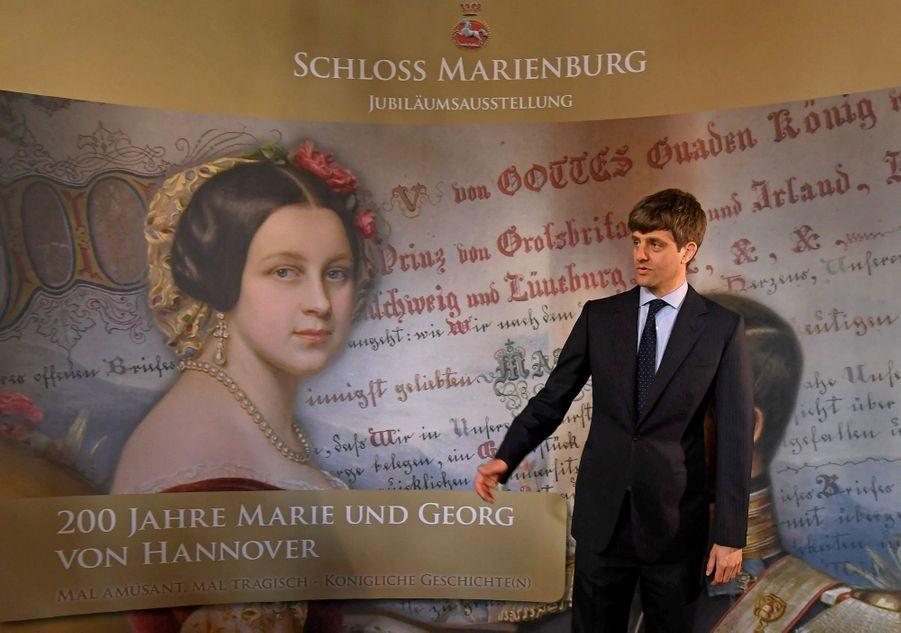 Le prince Ernst August de Hanovre junior lors de l'exposition consacrée au roi George V de Hanovre et la reine Marie, le 12 avril 2018