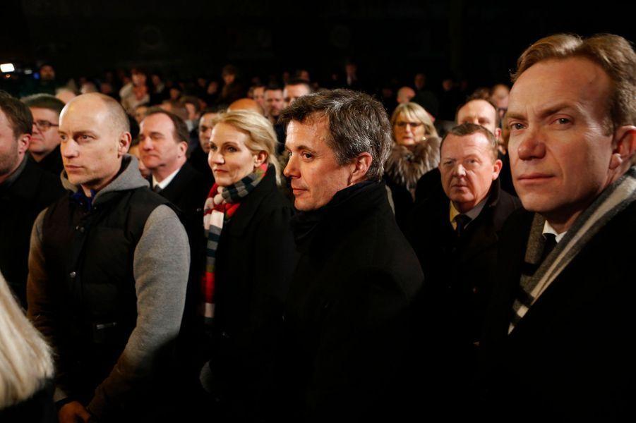 Le prince Frederik participe au rassemblement en hommage aux victimes des attentats à Copenhague, le 16 février 2015